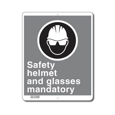 SAFETY HELMET AND GLASSES MANDATORY - CSA SIGN