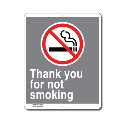 THANK YOU FOR NOT SMOKING - CSA SIGN