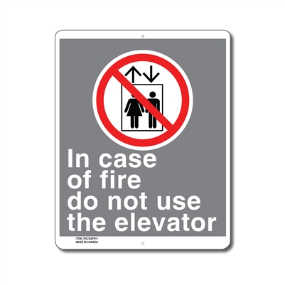 IN CASE OF FIRE DO NOT USE ELEVATOR - CSA SIGN