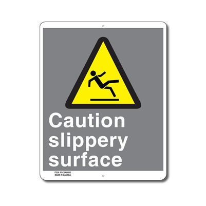 CAUTION SLIPPERY SURFACE - CSA SIGN