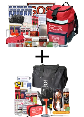 Bundle includes 2 Person Deluxe 72 Hour Emergency Survival Kit and an Emergency Roadside Vehicle Kit