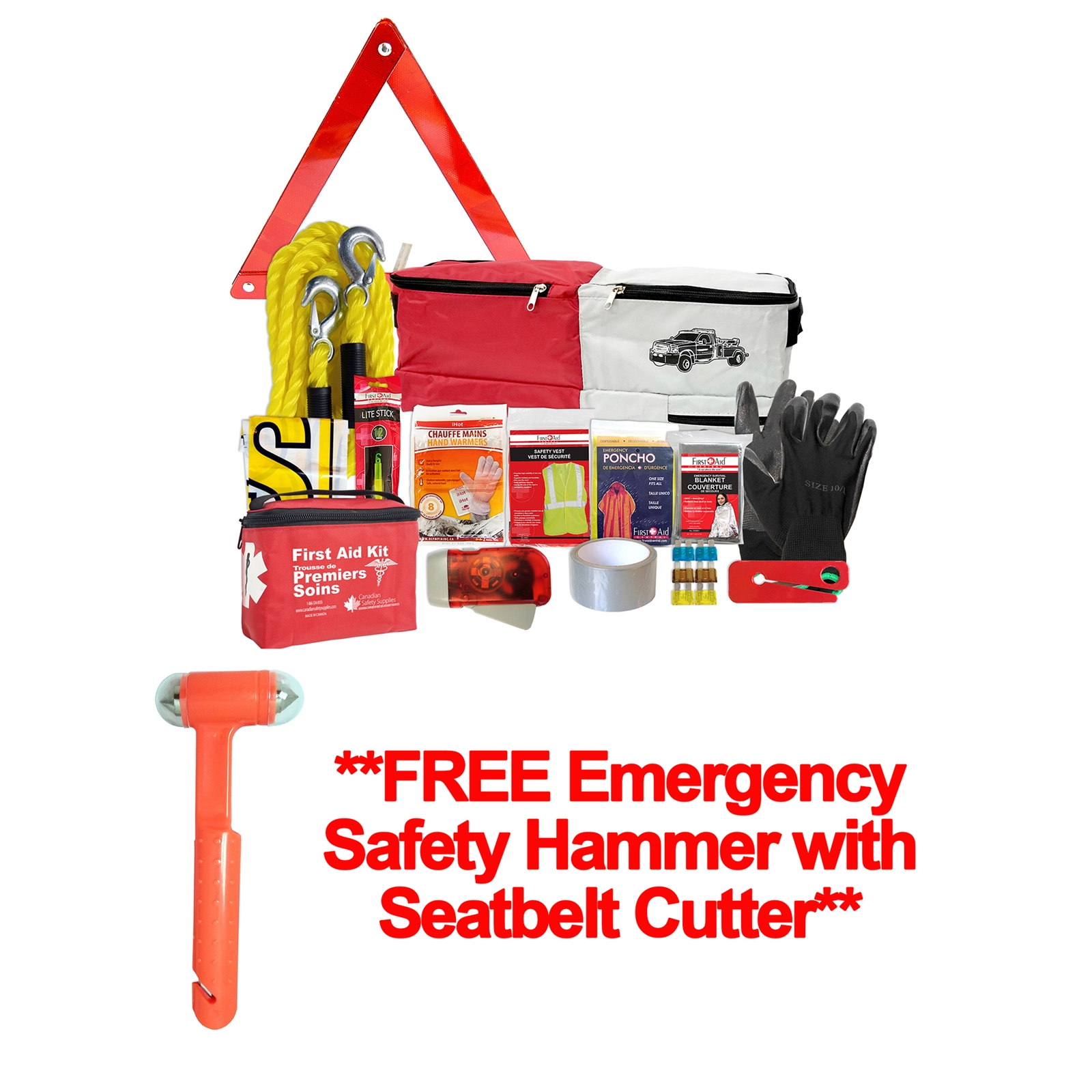 Roadside Assistance Kit - FREE Emergency Safety Hammer with Seatbelt Cutter