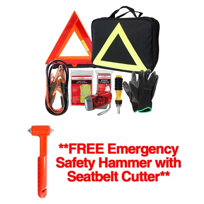 Roadside Booster/Jumper Kit - FREE Emergency Safety Hammer with Seatbelt Cutter