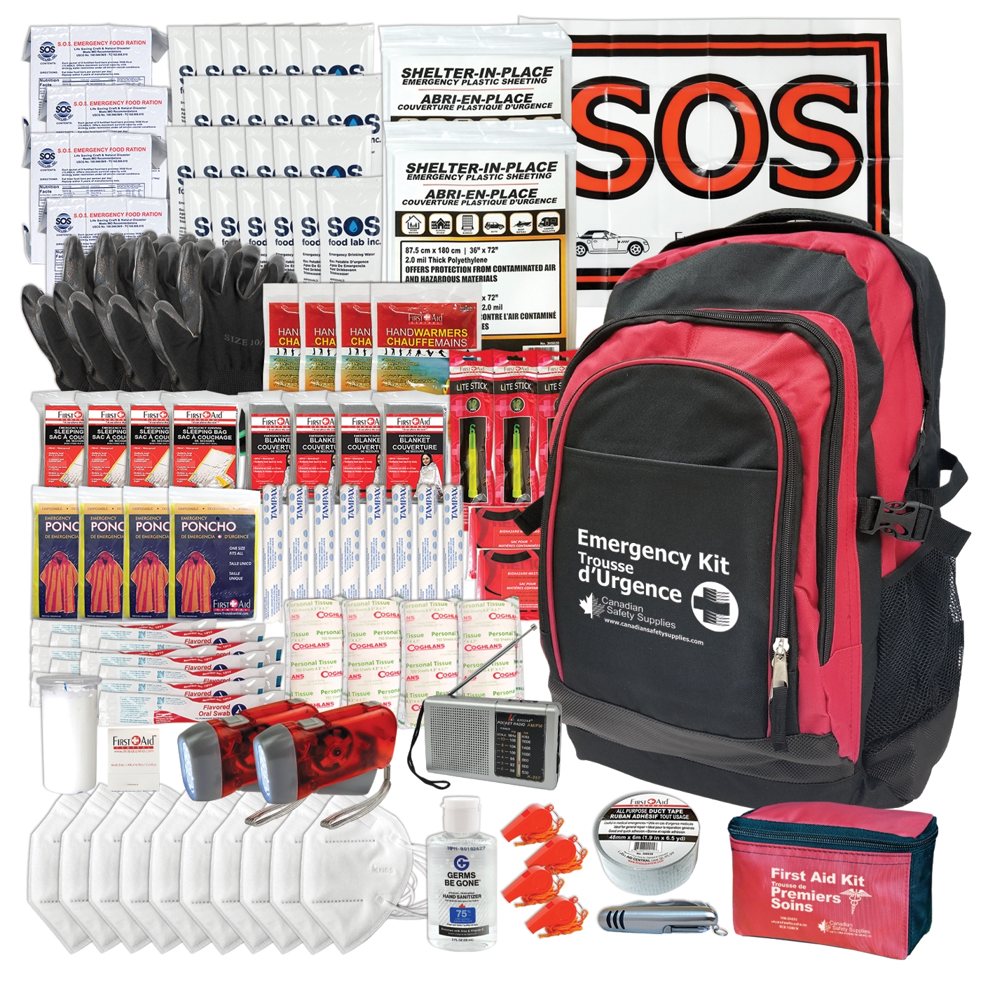 4-Person 3-Day Deluxe Emergency Kit Backpack Food Water Survival-Kit 72 hours