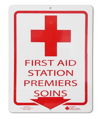 "Plastic Sign ""First Aid Station Cross + Arrow in Red"""