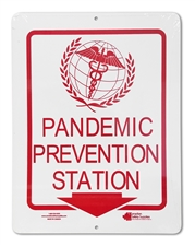 "Plastic Sign ""Pandemic Prevention Station + Arrow"""