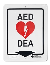 "Plastic Sign ""AED - DEA + ARROW"""