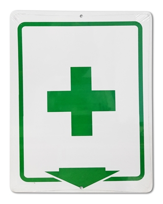 "Plastic Sign ""First Aid Cross + Arrow"""