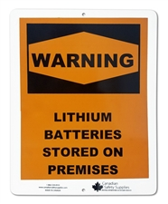 "Plastic Sign ""WARNING: Lithium Batteries"""