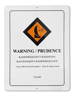 "Plastic Sign ""WARNING Radio frequency Radiation"""