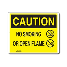 NO SMOKING OR OPEN FLAME - CAUTION SIGN