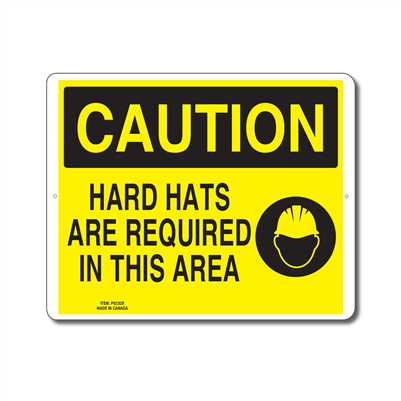 HARD HATS ARE REQUIRED IN THIS AREA - CAUTION SIGN