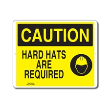 HARD HATS ARE REQUIRED - CAUTION SIGN