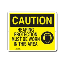 HEARING PROTECTION MUST BE WORN IN THIS AREA - CAUTION SIGN