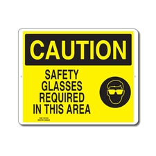 SAFETY GLASSES REQUIRED IN THIS AREA - CAUTION SIGN