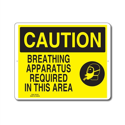 BREATHING APPARATUS REQUIRED IN THIS AREA - CAUTION SIGN