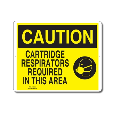 CARTRIDGE RESPIRATORS REQUIRED IN THIS AREA - CAUTION SIGN