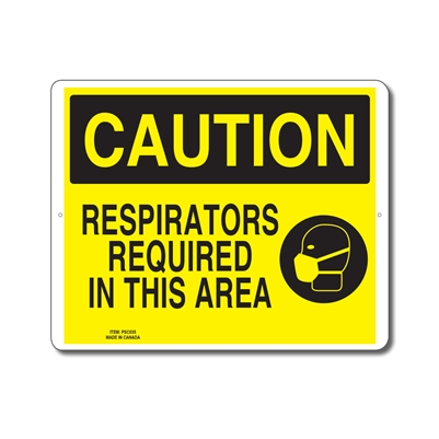 RESPIRATORS REQUIRED IN THIS AREA - CAUTION SIGN