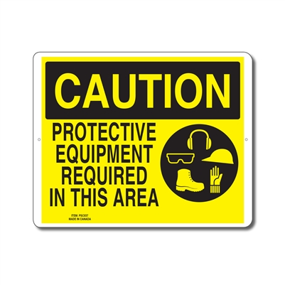 PROTECTIVE EQUIPMENT REQUIRED IN THIS AREA - CAUTION SIGN