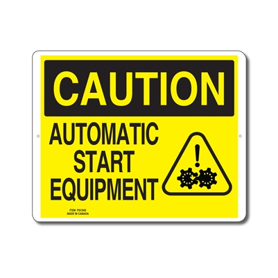 AUTOMATIC START EQUIPMENT - CAUTION SIGN