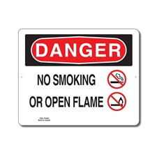 NO SMOKING OR OPEN FLAME - DANGER SIGN