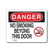 NO SMOKING BEYOND THIS DOOR - DANGER SIGN