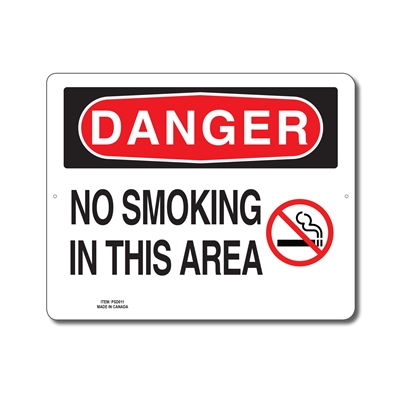 NO SMOKING IN THIS AREA - DANGER SIGN
