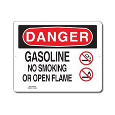 GASOLINE NO SMOKING OR OPEN FLAME - DANGER SIGN