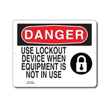 USE LOCKOUT DEVICE WHEN EQUIPMENT IS NOT IN USE - DANGER SIGN