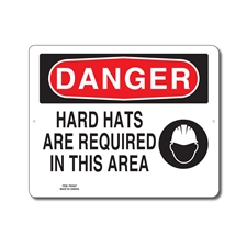 HARD HATS ARE REQUIRED IN THIS AREA - DANGER SIGN