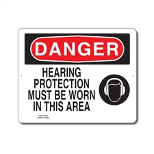 HEARING PROTECTION MUST BE WORN IN THIS AREA - DANGER SIGN