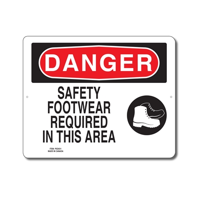 SAFETY FOOTWEAR REQUIRED IN THIS AREA - DANGER SIGN