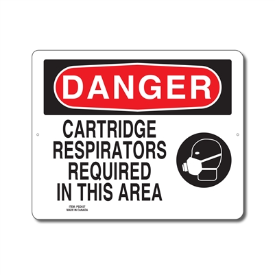 CARTRIDGE RESPIRATORS REQUIRED IN THIS AREA - DANGER SIGN