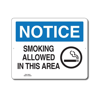 SMOKING ALLOWED IN THIS AREA - NOTICE SIGN