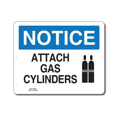 ATTACH GAS CYLINDERS - NOTICE SIGN
