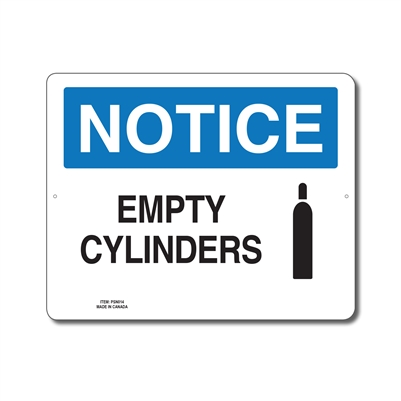 EMPTY CYLINDERS - NOTICE SIGN