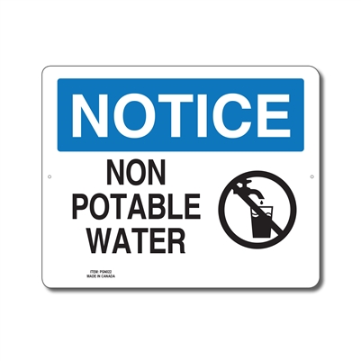 NON POTABLE WATER - NOTICE SIGN