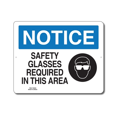 SAFETY GLASSES REQUIRED IN THIS AREA - NOTICE SIGN