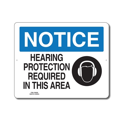 HEARING PROTECTION REQUIRED IN THIS AREA - NOTICE SIGN