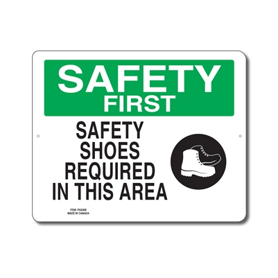 SAFETY SHOES REQUIRED IN THIS AREA - SAFETY FIRST SIGN