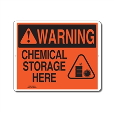 CHEMICAL STORAGE HERE - WARNING SIGN