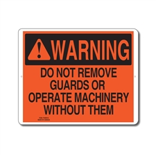 DO NOT REMOVE GUARDS OR OPERATE MACHINERY WITHOUT THEM - WARNING SIGN