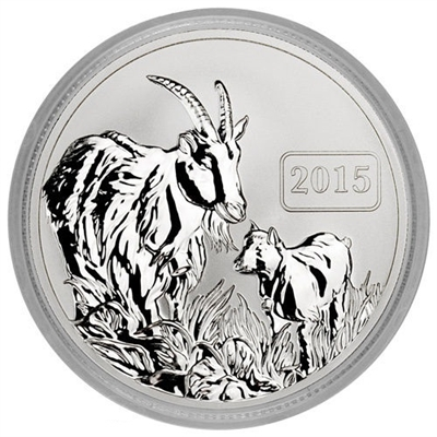 2015 $5 Reverse Proof 1oz Silver Tokelau Goat