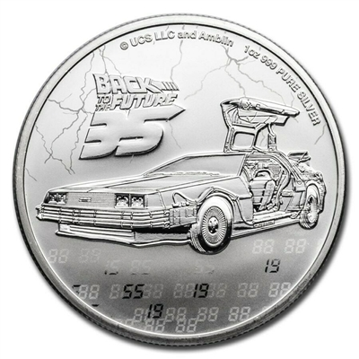 2020 Niue 1 oz Silver $2 Back to the Future 35th Anniversary Coin - Gem Bu