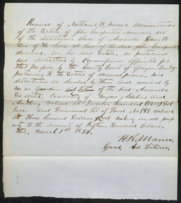 1854 Texas Estate Division Document including Slaves