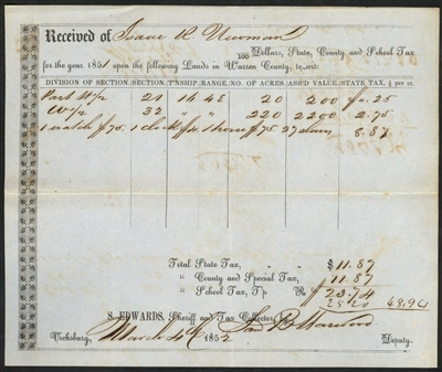 1852 Partly-Printed  Warren County, Mississippi Tax Receipt – Slaves