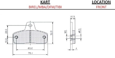 BRAKE PAD SET (2) FOR BIREL, COMPOUND: RACING CARBON 222
