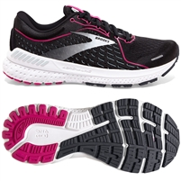 Brooks Adrenaline GTS 21 Women's Road Running Shoe. (Black/Raspberry/Sorbet/Ebony)
