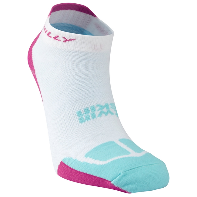 Hilly Twinskin Socklet (White/Fluo Pink/Aquamarine)