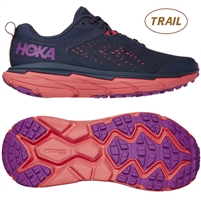 Hoka Women's Challenger ATR 6 All-Terrain Shoe. (Black Iris / Hot Coral)